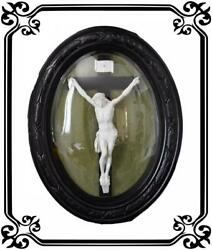 Vintage French Antique Large Religious Frame Crucifix 19th
