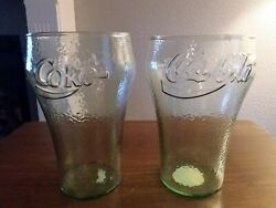 Vintage 32 Oz. Coca Cola Dimple Glasses By Indiana Glass Co. Set Of 2