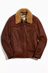 Schott Antique Cowhide Rancher Leather Jacket With Sheepskin Collar Large 596