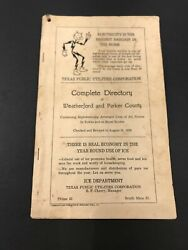 Weatherford Texas 1938 Telephone Book Phonebook Directory Free Shipping