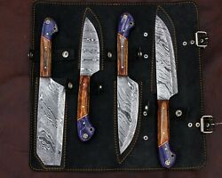 Hand Forged Damascus Steel Outdoor,bbq, Kitchen Knives Set With Leather Kit Roll