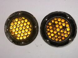 2 Glass Dietz 89 Marble Reflector Vintage Amber 5 Car Truck Tail Lite Bus Old