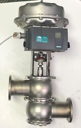 """Gea Abf-od 3"""" Flow Valve W/ Diaphragm And Siemens Sipart Ps2 Ip Positioner 6dr50"""
