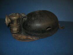 Antique Mining Hat Miner Hard Hat Small In Size Childs Maybe....w/carbide 1920's