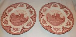 Set Of 2 Johnson Brothers Old Britain Castles Pink 10 Dinner Plates