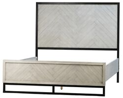 85 Silvestro Queen Bed Reclaimed Acacia Wood In Antique White Black Metal Frame