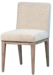 18 W Thurston Dining Chair Acacia Wood Frame Salt And Pepper Cotton Fabric Modern