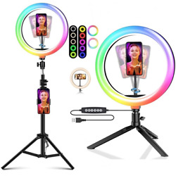 8 10 Rgb Selfie Ring Light Tripod Stand Phone Holder Dimmable For Tiktok Live