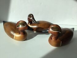 Trio Carved, Teal, Signed Wooden Ducks - Ron Sadler - Country Traditions