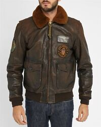 Brown Fur Collar Aviator Patch Destroyed Leather Jacket Size S