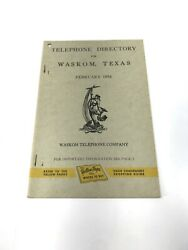 Waskom Texas 1954 Telephone Book Phonebook Directory Free Shipping