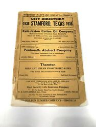 Stamford Texas 1938 City Directory - Telephone Directory Free Shipping