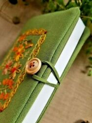 Handmade Fabric Embroidered Notebook Cover for Hobonichi amp; most A6 Notebooks $39.99