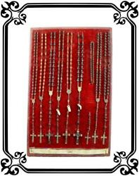 Vintage French Wooden Rosary Display