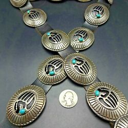 Vintage Navajo Sterling Silver Cut Out Bear Paw With Turquoise Cabochon Belt