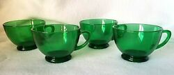 Set Of 4 Forest Emerald Green Depression Glass Tea Cups Punch Cups Mint