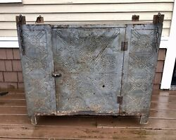 1840-50 Pennsylvania Punched Tin Hanging Pie Safe, Wide Boards, Orig. Chain