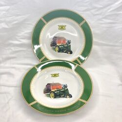 """John Deere Dishes 1935 Model B Tractor Made By Gibson Set Of 2 Plates 11"""" Used"""