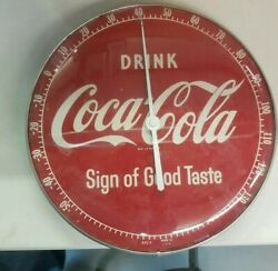 Vintage 50andrsquos Drink Coke Sign Of Good Taste Coca-cola Pam Glass Thermometer Nice