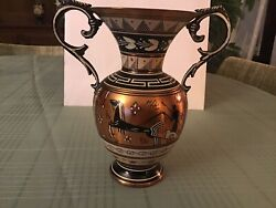 """Greek Pottery Hand Painted Vintage Copper Vase 5.5"""" Tall Made In Greece Decor"""