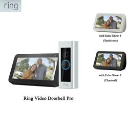 Ring Video Doorbell Pro With Ring Chime Pro And Echo Show 5 Sandstone/ Charcoal