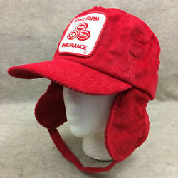 Vtg State Farm Patch Hat With Flaps Snapback Corduroy Made Usa