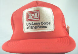 Us Army Corps Of Engineers Red Snap Back Trucker Hat With Tags Mesh Cotton Cap