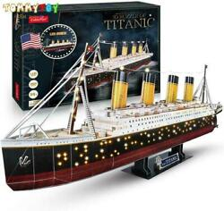 Titanic Ship 3d Puzzle Toy For Adults Model Kit 34.6and039and039 266 Pieces Large With Led