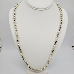 Sterling Silver 7-8 Mm Bead 30 Necklace Chain Stamped D.e.c.