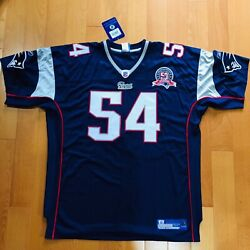 Authentic Tedy Bruschi New England Patriots Blue Jersey Size 54 Nwt Reebok Patch