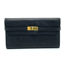 Hermes Turn Lock Kelly Wallet Folded Long Wallet With Coin Compartment Epsom