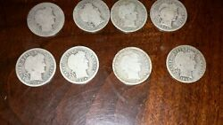Lot Of 8 Barber Dimes 90 Silver Readable 1900 1902 1904 1905 1906 1907 1908dand O