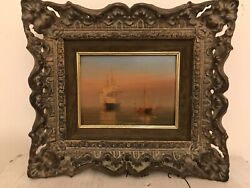William Frederick Settle British 1821-1879 Ships At Anchor Oil Signed