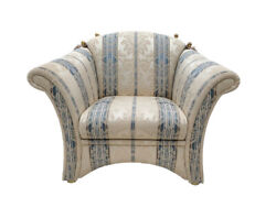Sofa And Matching Armchair English Country Style Striped Pattern Vintage