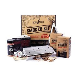 Herb And Grill 7 Piece Bbq Cooking Gift Set For Dad | Smoking Wood Chip Smoker ...