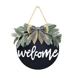 Welcome Wreath Sign For Farmhouse Front Porch Decor, Rustic Door Hangers Fron...