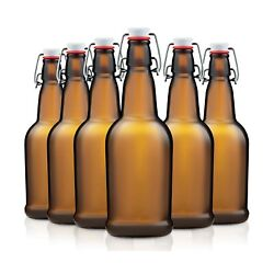 Amber Glass Swing Top Beer Bottles - 16-ounce 6-pack Grolsch Bottles, With ...