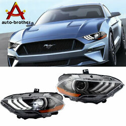 Right And Left Side Led Headlights Fit For 2018-2019 Ford Mustang Dual Beam Drl