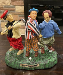 Three Stooges Golf Academy Animated Musical Statue Works Great Read
