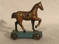 Tin Penny Toy Horse Made In Germany Antique Pull Toy