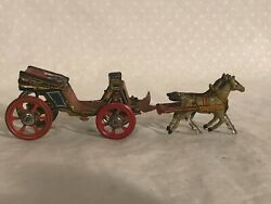 Tin Penny Toy Horse And Carriage Pre-war Gesch Germany