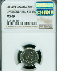 2004-p Canada Test 10 Cents Ngc Ms-69 Mac Solo Finest Grade Mac Spotless .