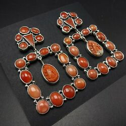 Federico Jimenez Sterling Silver Red Italian Coral Cluster Earrings Madonna
