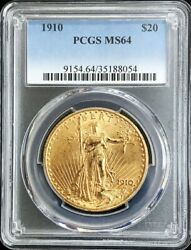 1910 Gold United States 20 Dollar Saint Gaudens Coin Pcgs Mint State 64