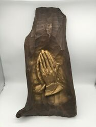 Large Faux Wood Praying Hands 22x11.5 Wall Art Brown Gold Mid Century Christ