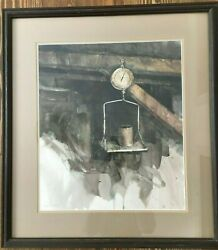 Bye Bitney The Scale 16x14 Original Watercolor Antique Metal Hanging Mercantile
