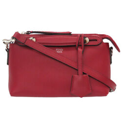 Authentic Fendi 8bl135 1d5 By The Way Shoulder Bag Red Leather 0029