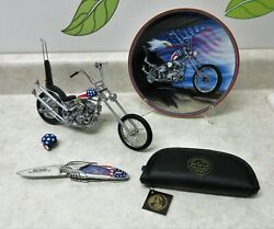 Franklin Mint Easy Rider Diecast Ultimate Chopper + Collectors Plate + Knife
