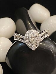 Pave 0.73 Cts Pear Round Cut Natural Diamonds Engagement Ring In 750 18k Gold