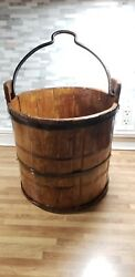 Antique Primitive Handmade Solid Wood Stave Bucket Pail Wrought Iron Bail Handle